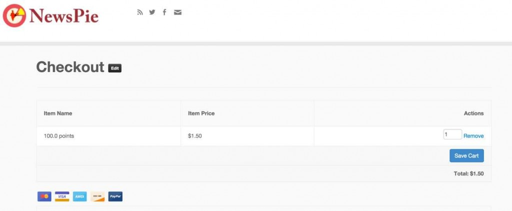 Getting to the checkout and purchasing the virtual points